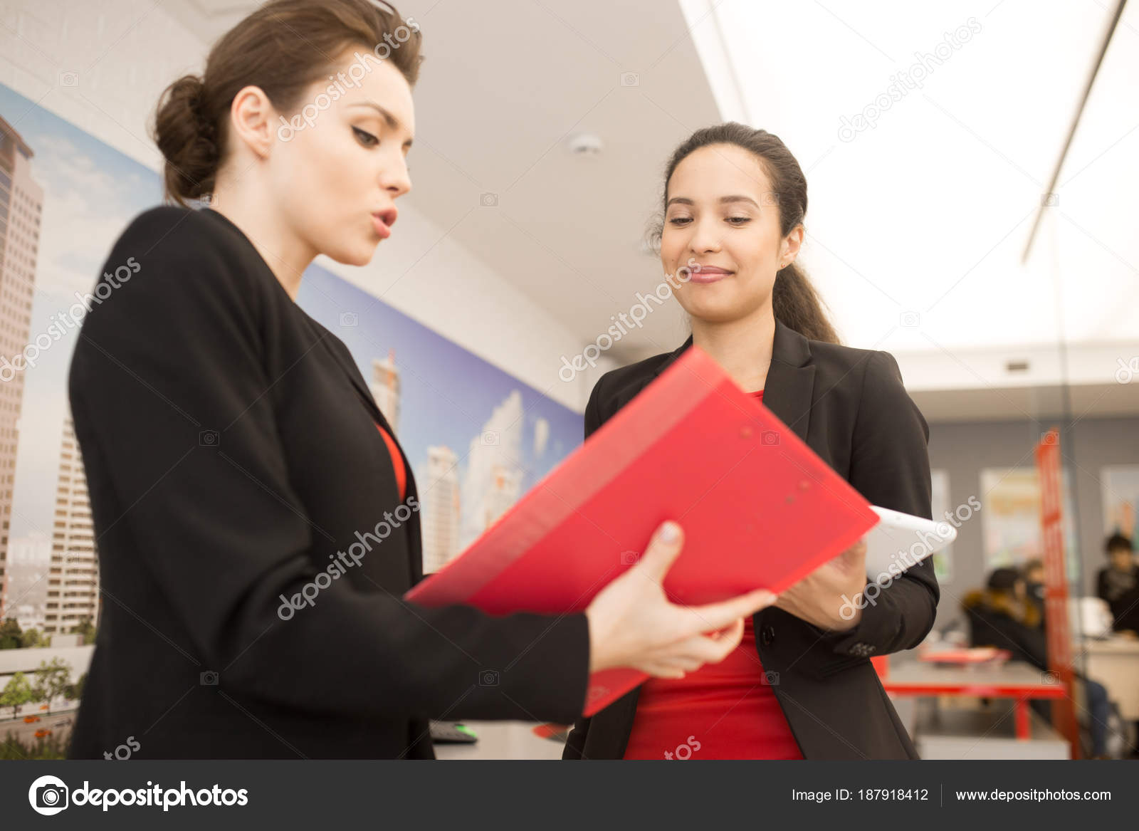 Low Angle Portrait Two Modern Business Women Wearing Black Red