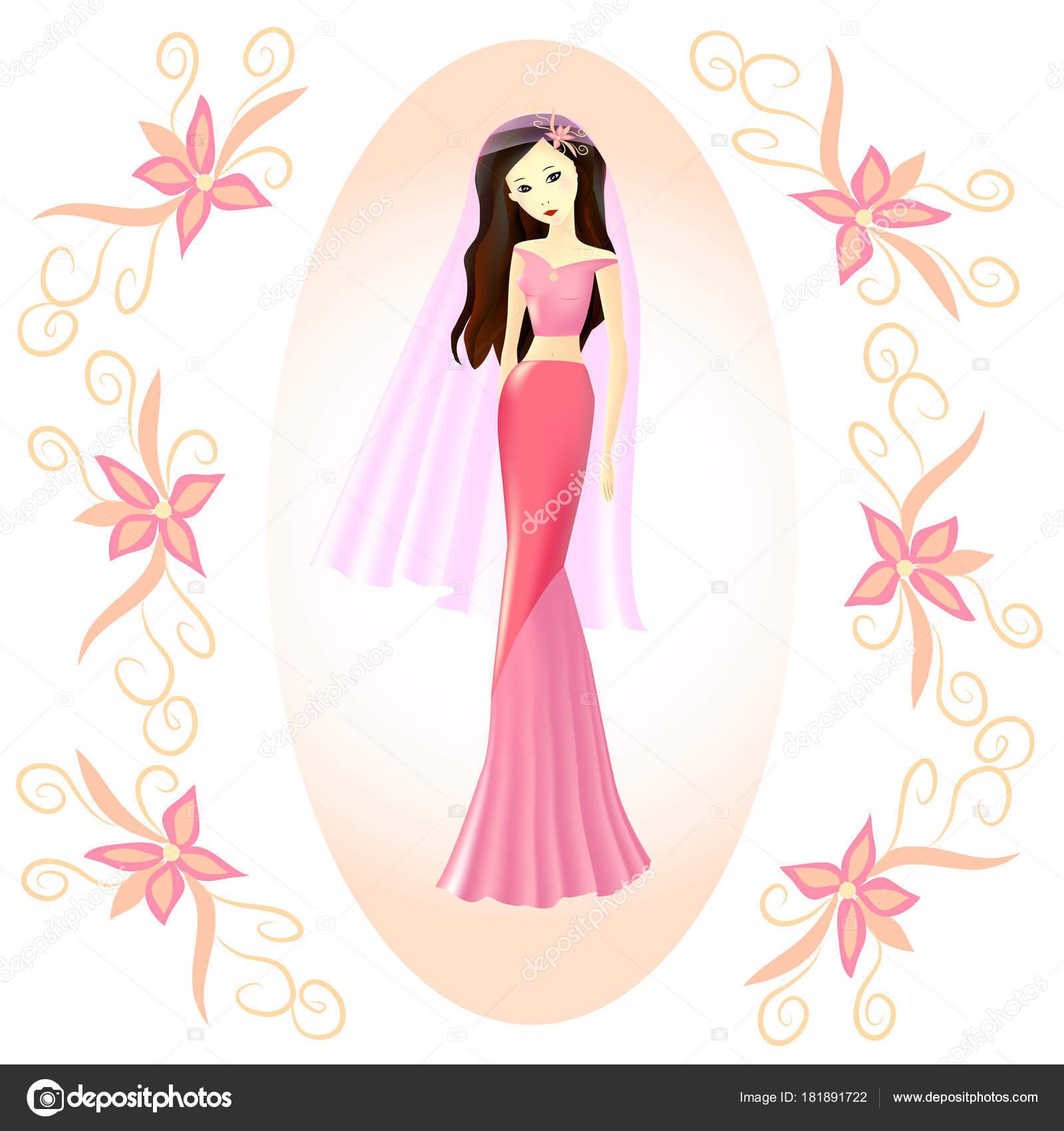 niña, la novia en un vestido rosa y con un velo rosa — Vector de ...