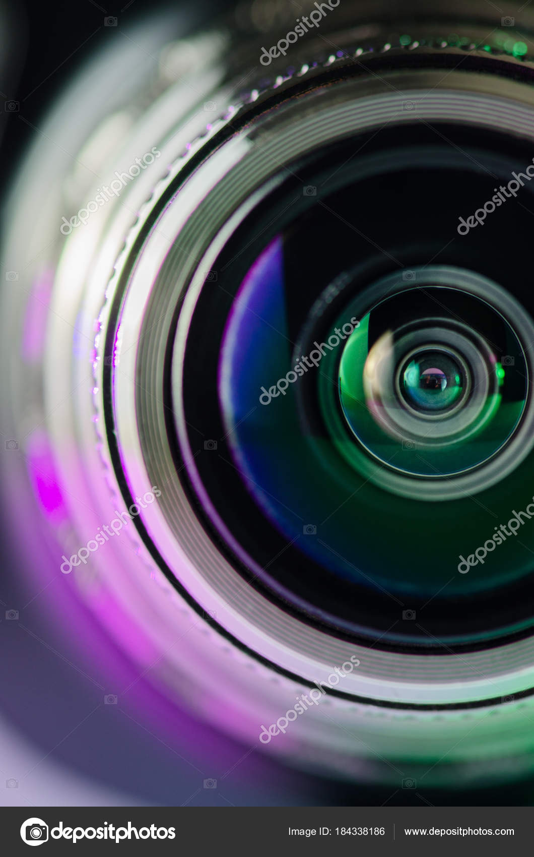 Camera lens and backlight are purple-green  Vertical photo