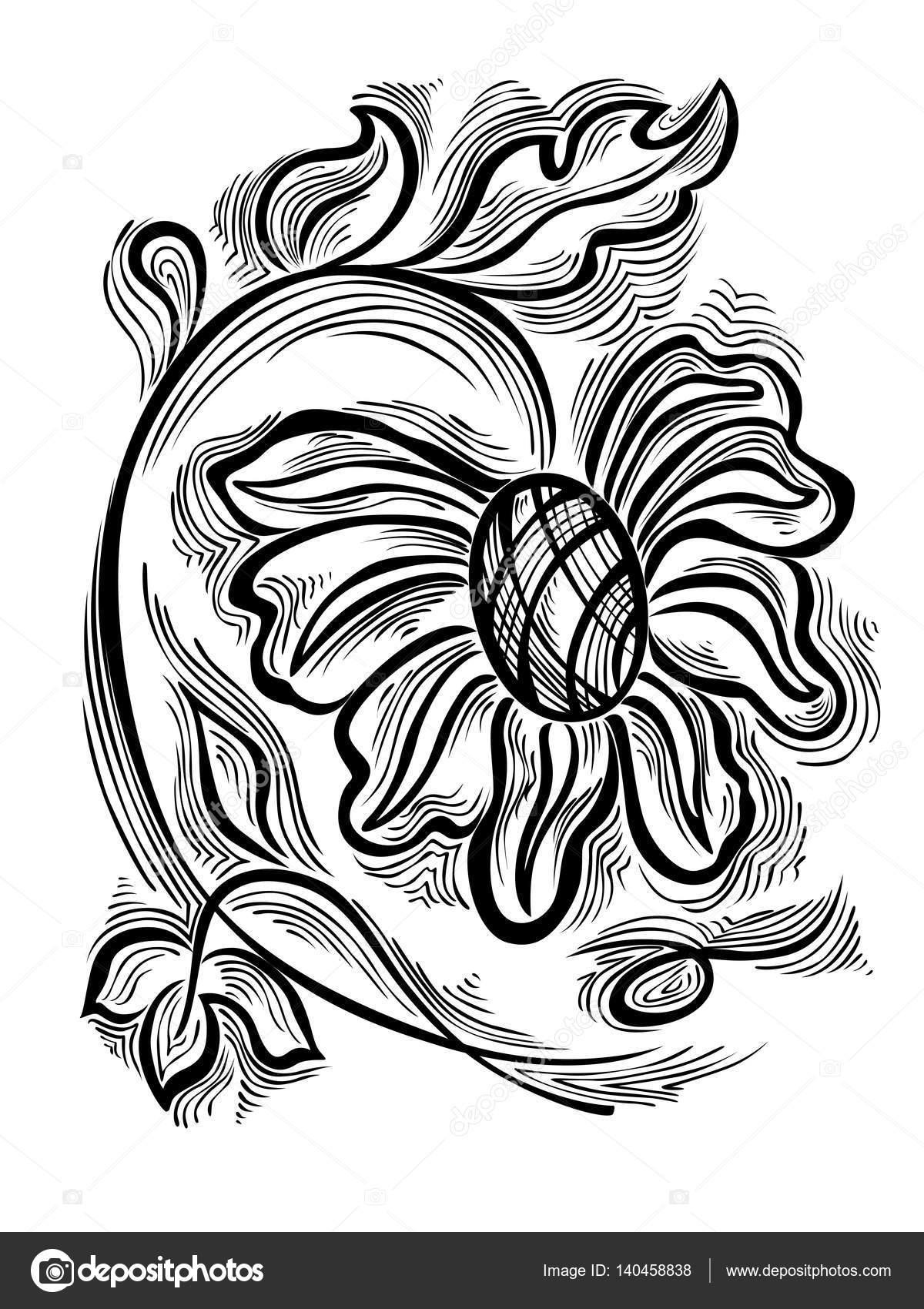 Dekoratif Süs çiçek Boyama Stok Vektör Nairine 140458838