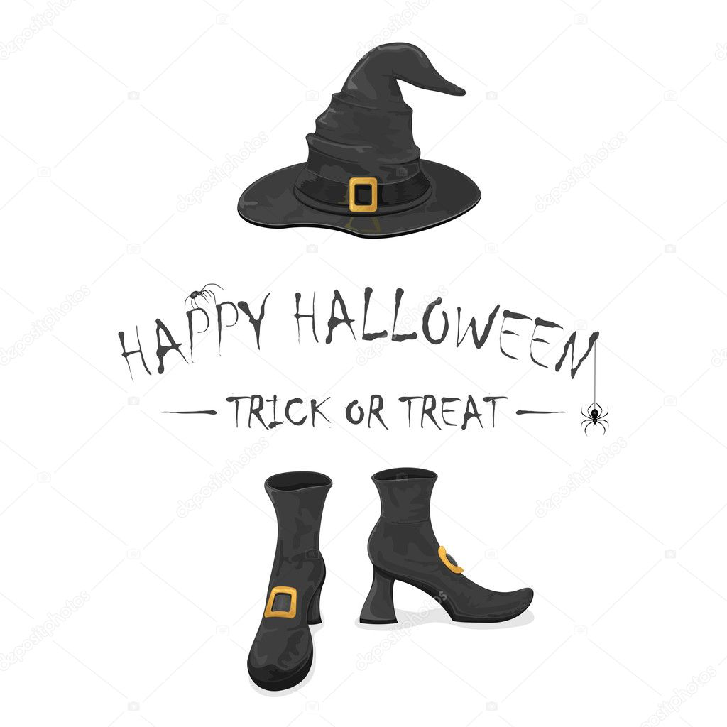 happy halloween with witches shoes and hat u2014 stock vector losw