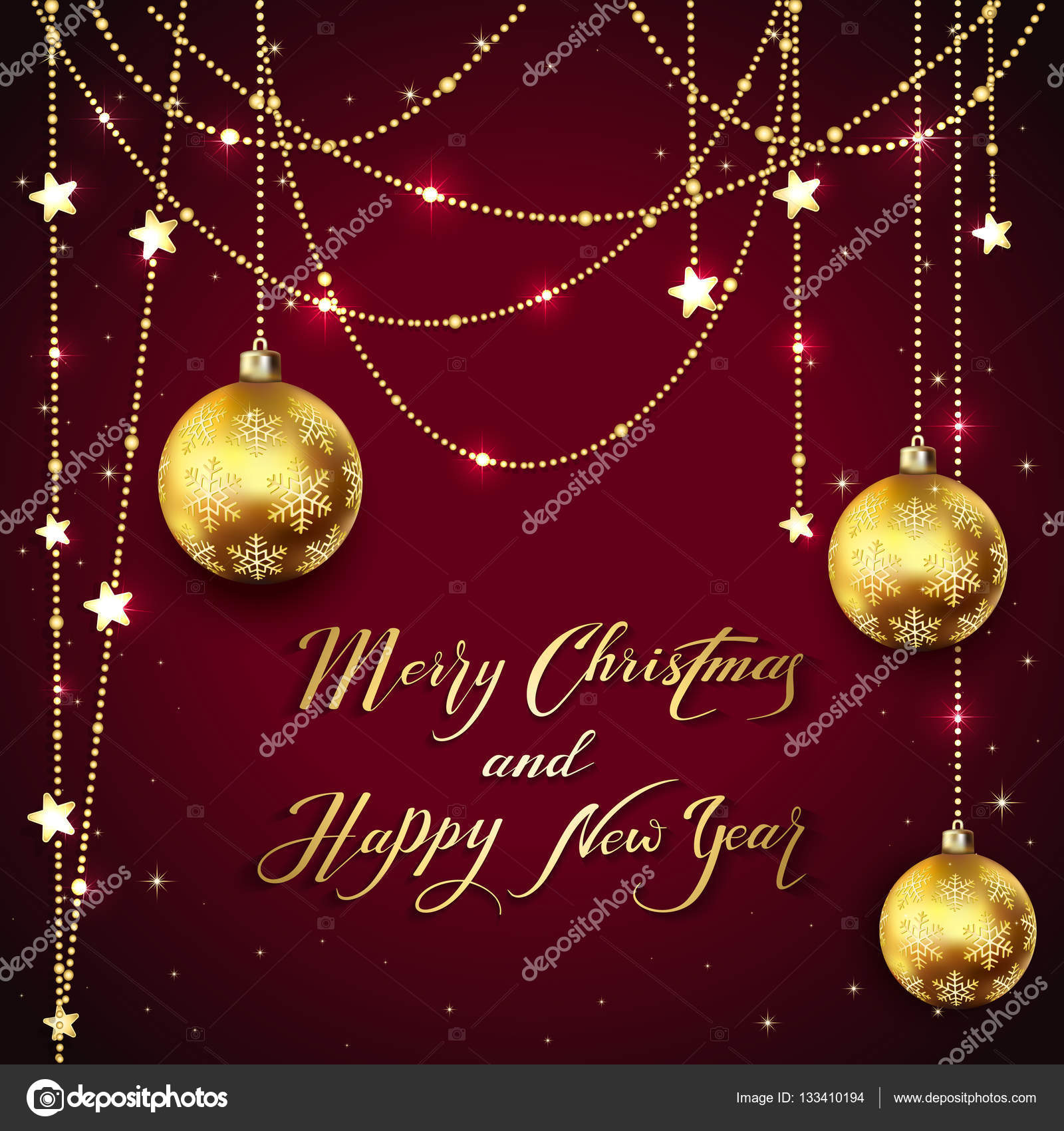 Christmas Balls With Golden Decoration And Holiday Greetings On