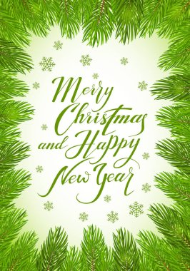 Lettering Merry Christmas and Happy New Year with fir tree brunc