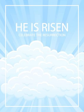 Easter background with clouds and lettering He is risen