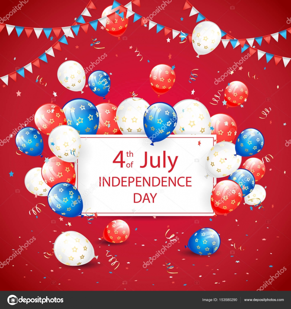 468e271d1ba Independence day balloons and tinsel on red holiday background ...