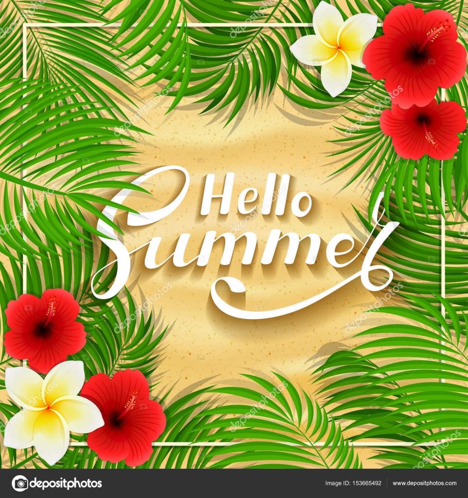 Summer hawaiian flowers on sandy background stock vector losw summer hawaiian flowers on sandy background stock vector izmirmasajfo Choice Image