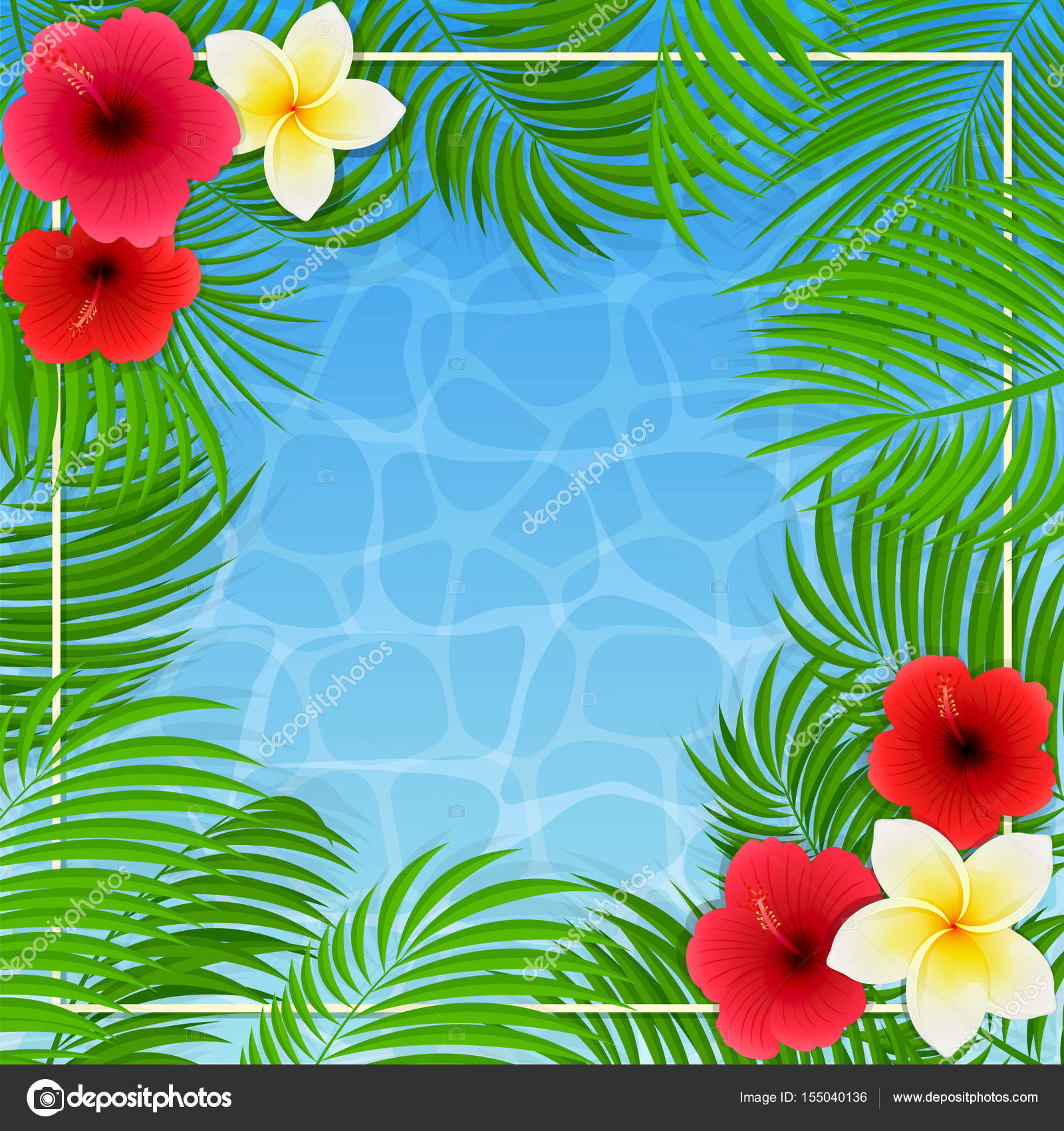 Hawaiian flowers and palm leaves on water background stock vector hawaiian flowers and palm leaves on water background stock vector izmirmasajfo Choice Image