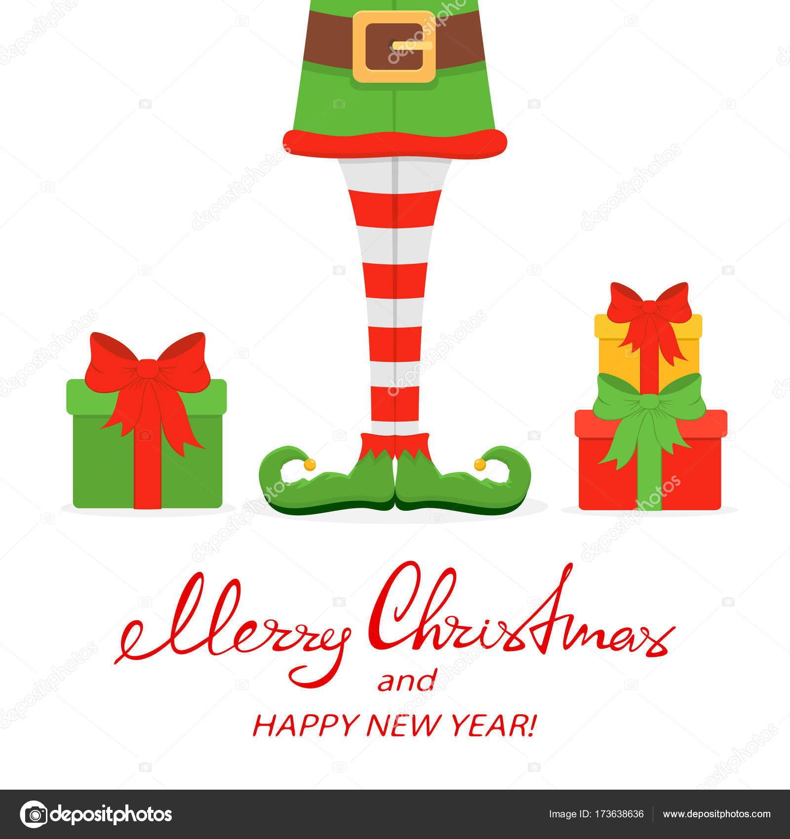 Elf Beine in grünen Schuhen mit Weihnachten präsentiert ...