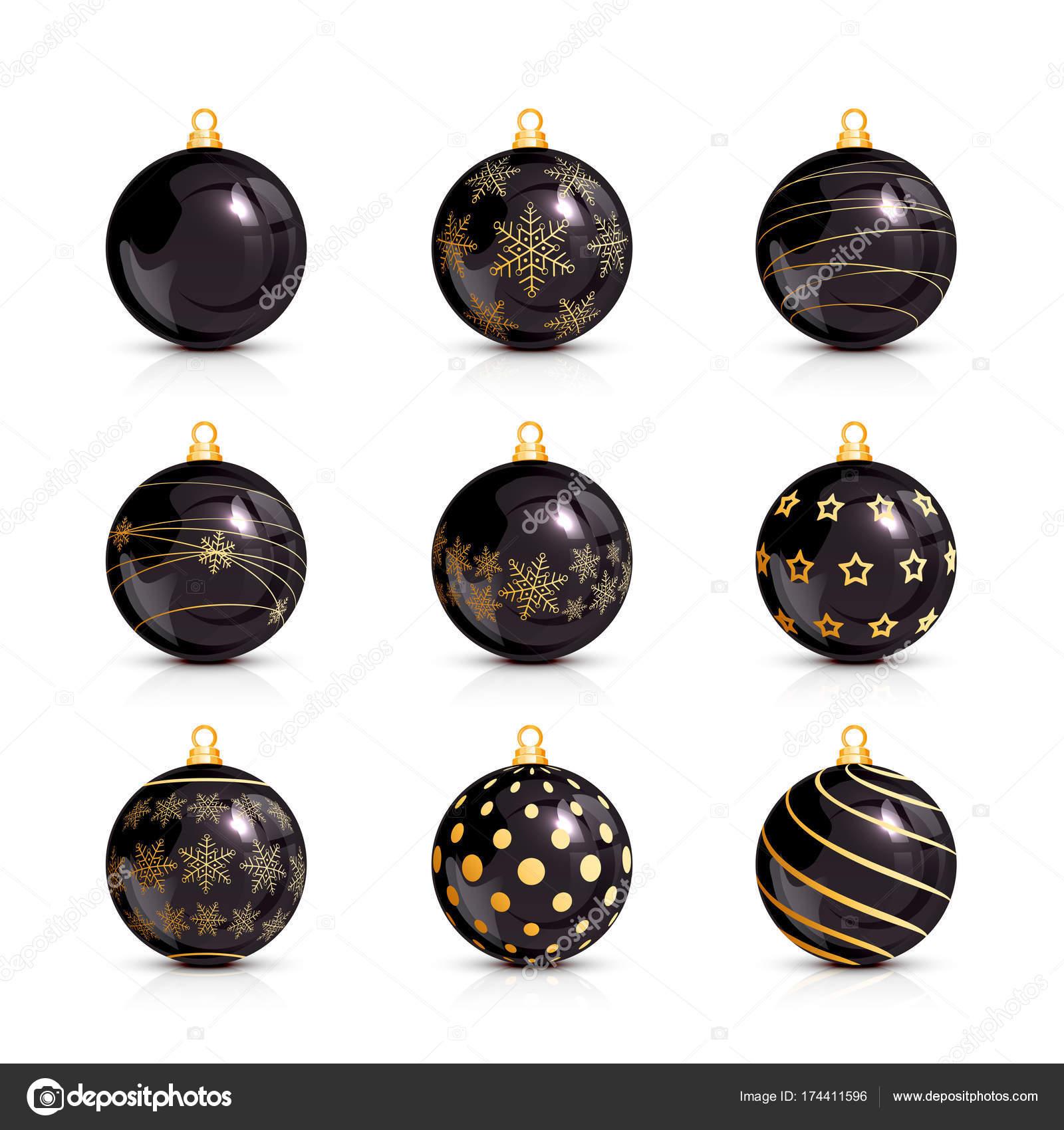 Black Christmas Balls.Set Of Black Christmas Balls With Golden Pattern Stock Vector