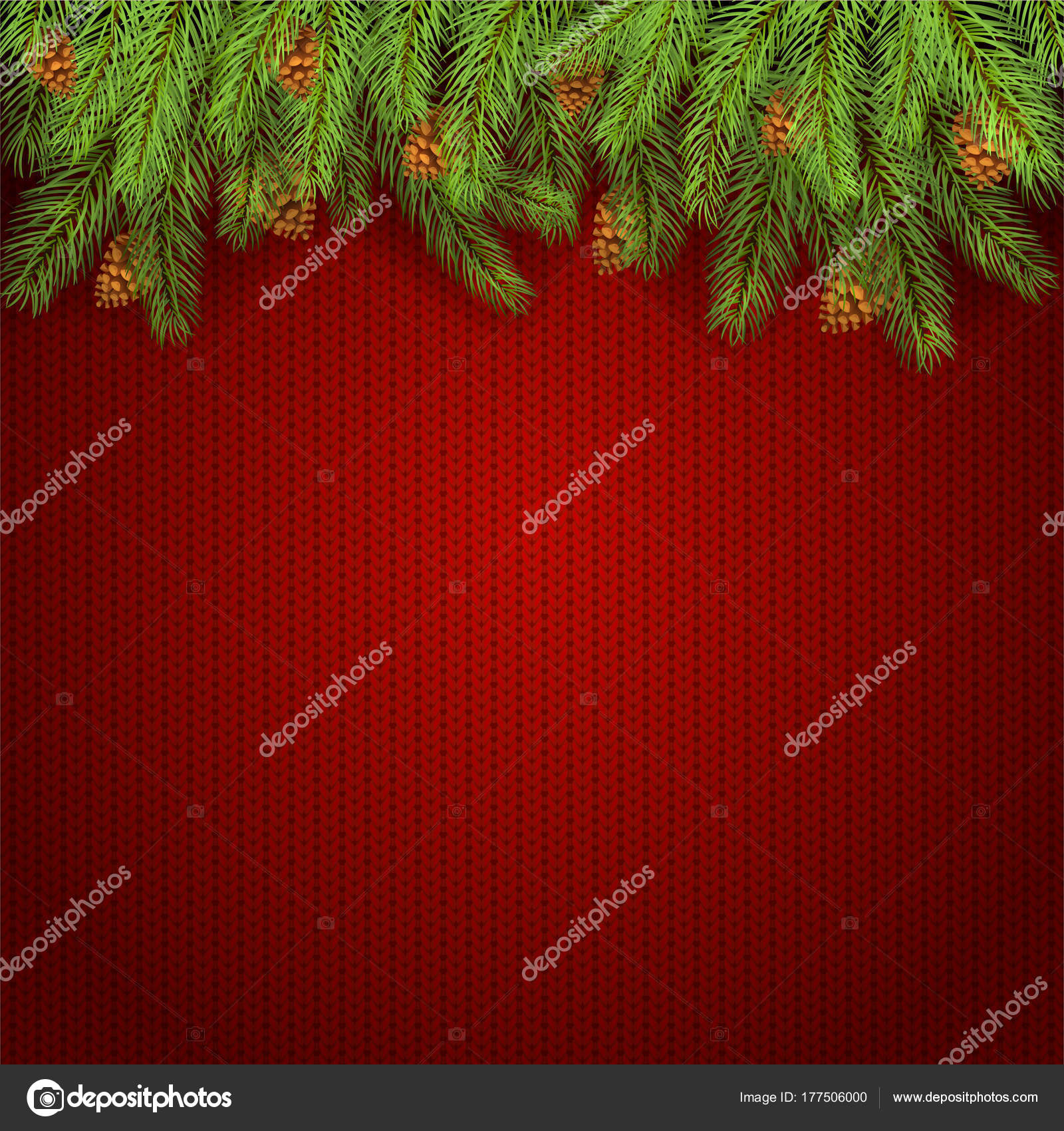 Christmas red knitted background and fir tree branches stock christmas background and spruce branches with pine cones holiday decorations on red knitted pattern illustration vector by losw bankloansurffo Images