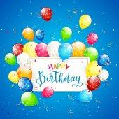 Balónky a pozlátko na blue holiday pozadí a text Happy Bi
