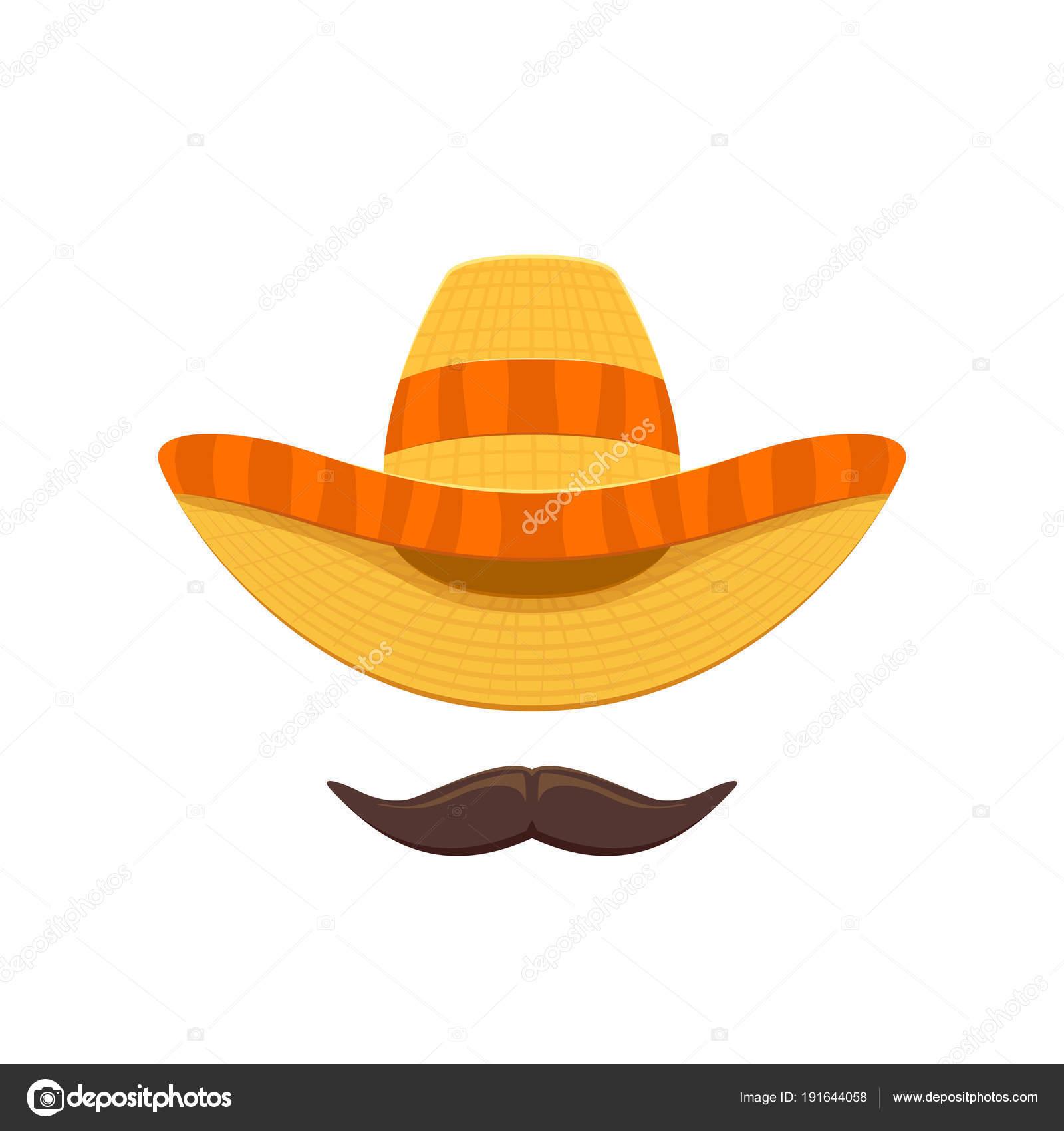 Sombrero mexicano sombrero y el bigote para el Cinco de Mayo aislado sobre  fondo blanco 61178438128