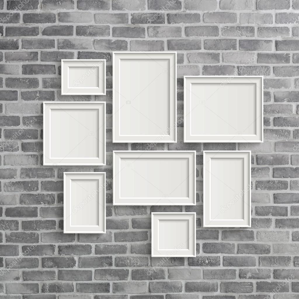 Marcos en blanco en la pared gris birck — Foto de stock © kchungtw ...