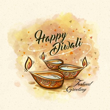 Happy diwali festival greeting text, with oil lamp decorations and white background stock vector