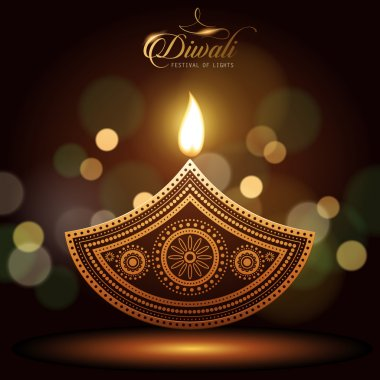 Text happy diwali and candle decorations on dark background stock vector