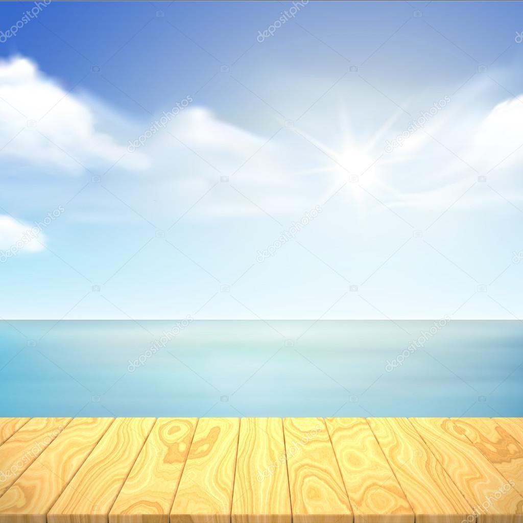 wooden desk and ocean