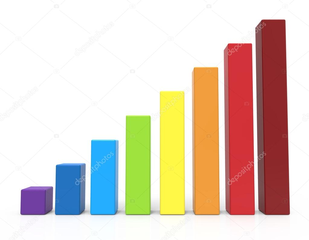Color chart rainbow - 3d Rendering Rainbow Colored Bar Chart Isolated White Background Photo By Kchungtw