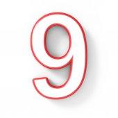 3D bílé číslo 9 s červeným rámečkem