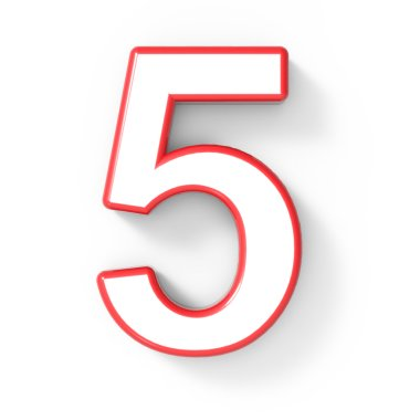 3d white number 5 with red frame