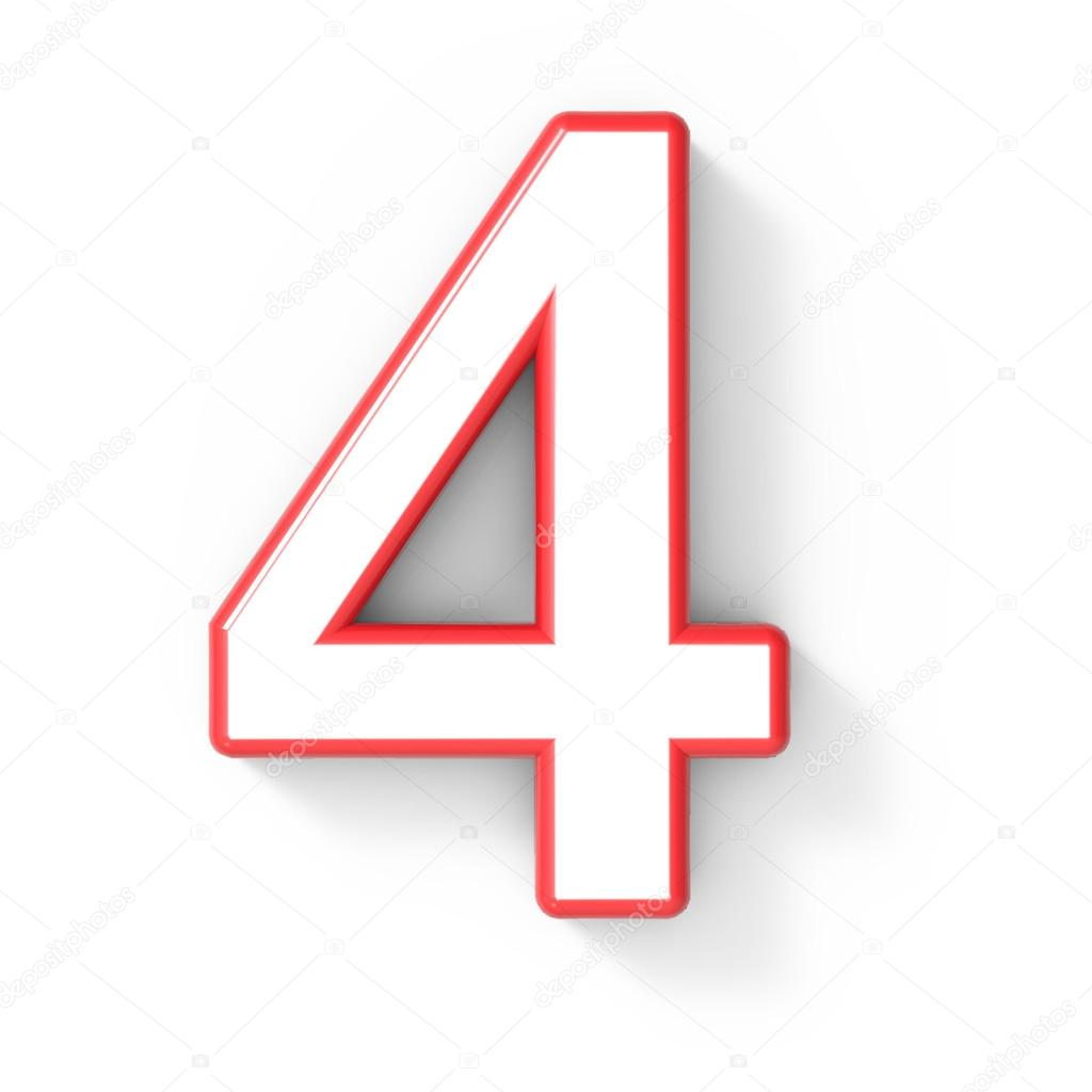 3d blanco número 4 con marco rojo foto de stock kchungtw 127935028