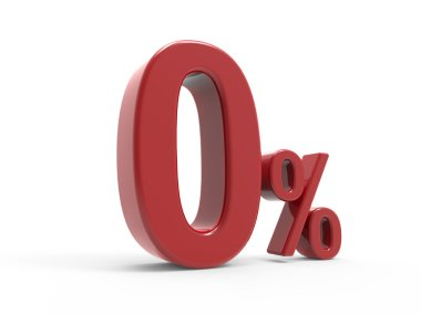 3d rendering of a 0% symbol