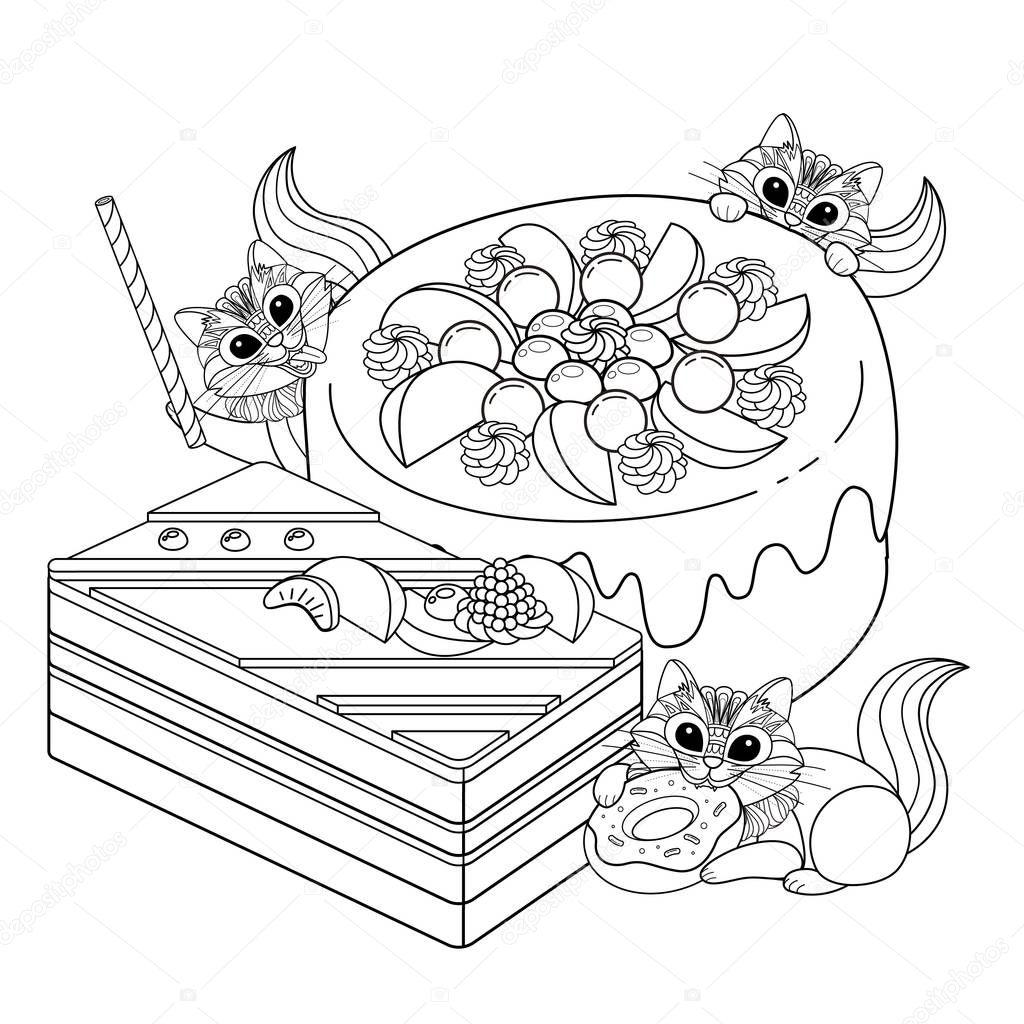 Página de adultos para colorear pasteles — Vector de stock ...