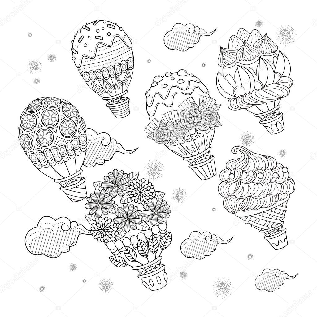 Hot air balloon adult coloring page — Stock Vector © kchungtw #128917378