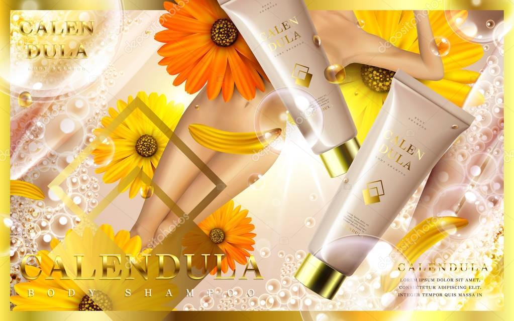 calendula body shampoo ad