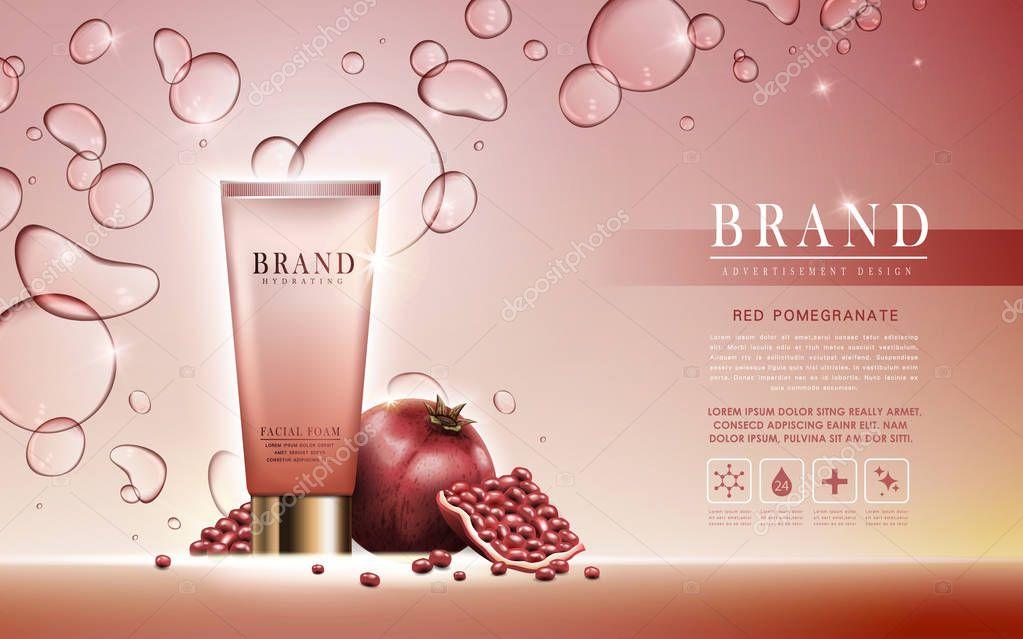 pomegranate facial foam ad