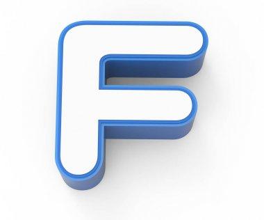 blue framed white letter F