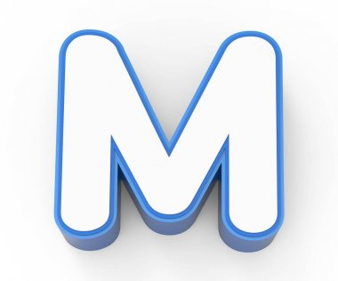 blue framed white letter M