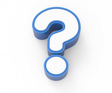 blue framed white question mark
