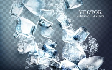 falling streaks of icy cube