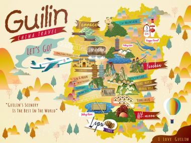 China Guilin travel map