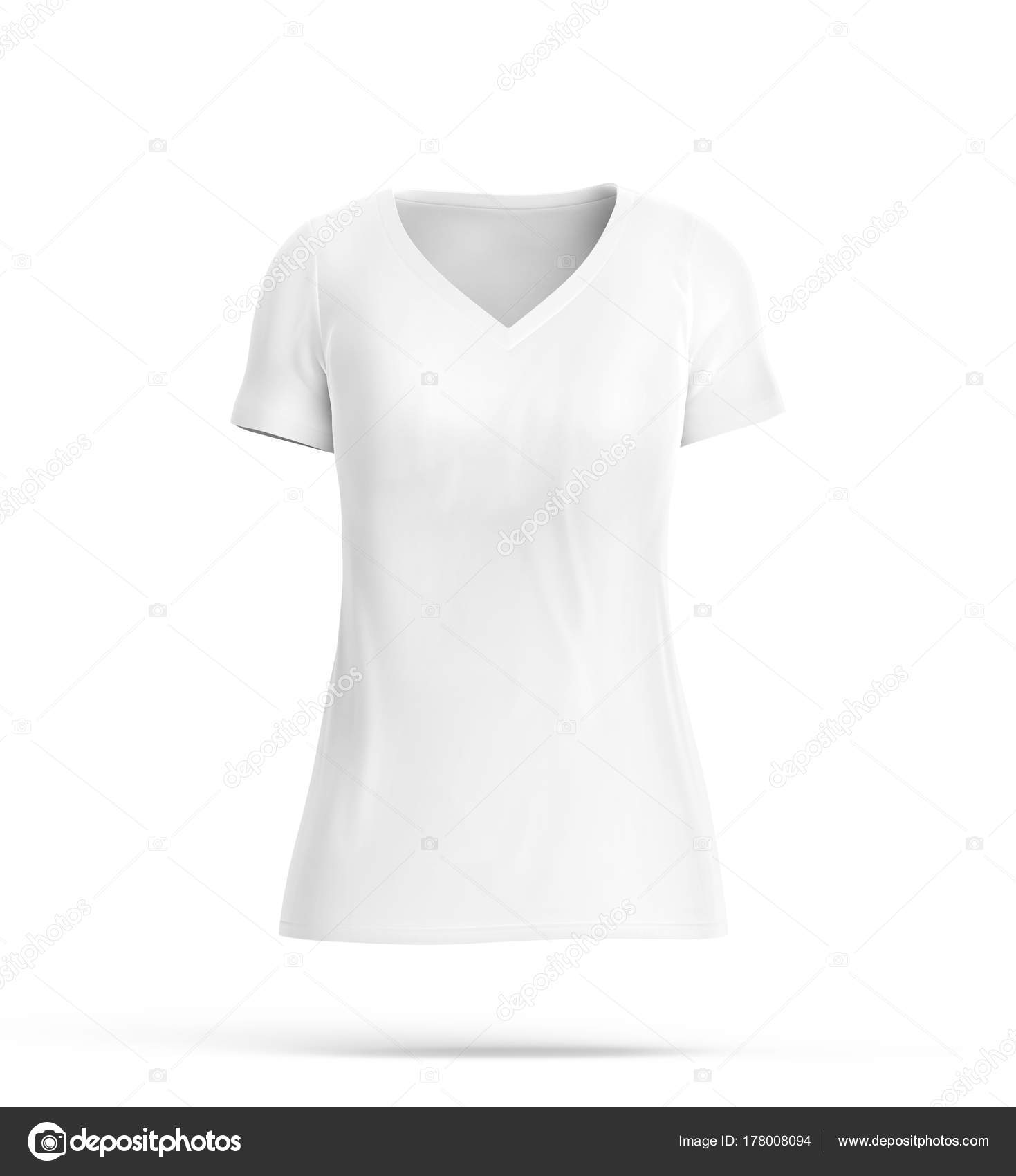 ff5dfbe43bef V neck T-shirt, blank white cloth for women with invisible model isolated  on white background, 3d render — Photo by ...