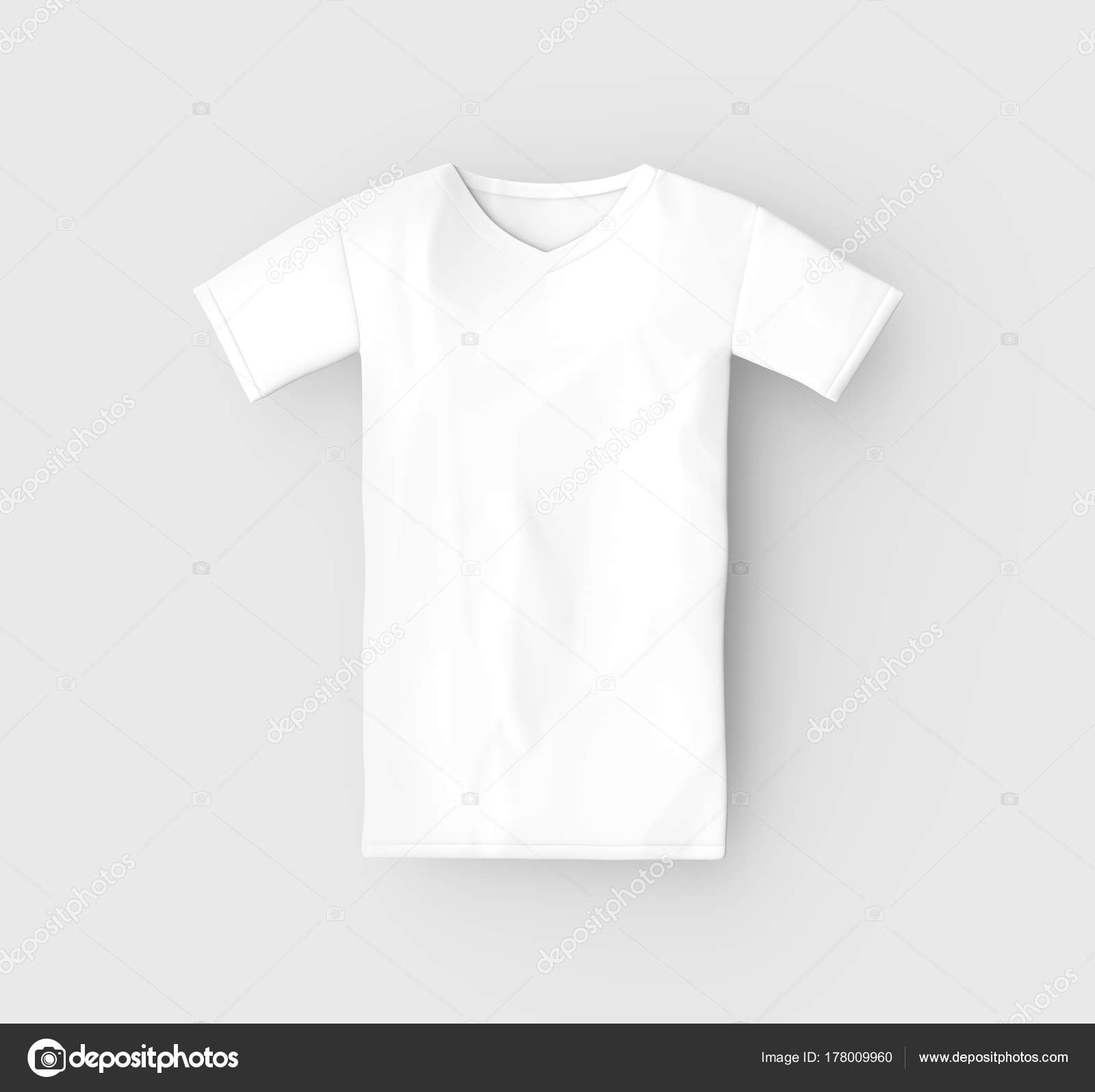 V Neck T Shirt Mockup Blank White Unisex Cloth Template Isolated On Light Gray Background 3d Render Photo By Kchungtw