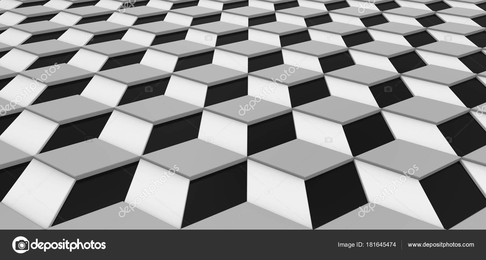 d51ef64cdb8 Geométrico 3d render de fondo, papel pintado decorativo cubo moderno patrón  en blanco, gris y negro — Foto de kchungtw