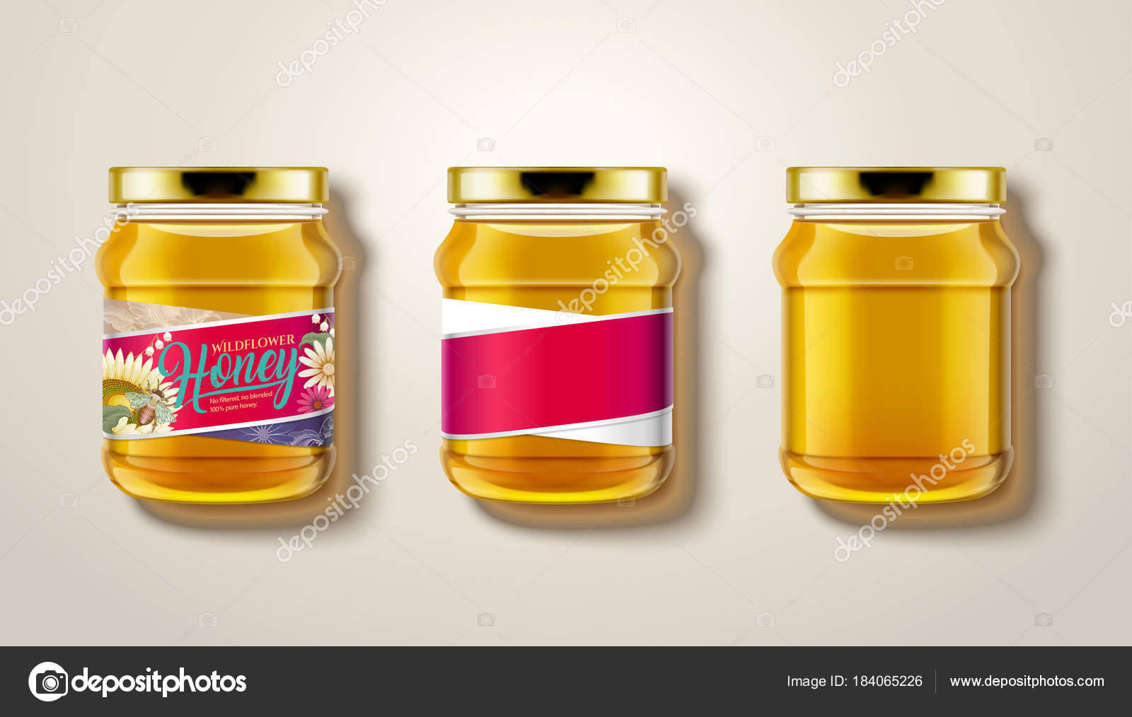 Download Pure Honey Jar Mockup Stock Vector C Kchungtw 184065226 PSD Mockup Templates