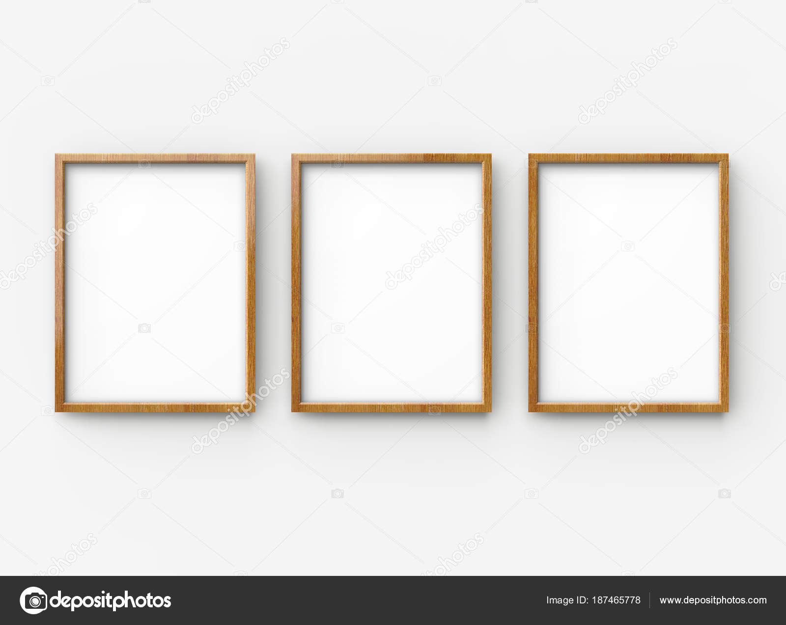 Delicieux Wooden Picture Frame Render Blank Thin Frames Collection Empty Space U2014  Stock Photo