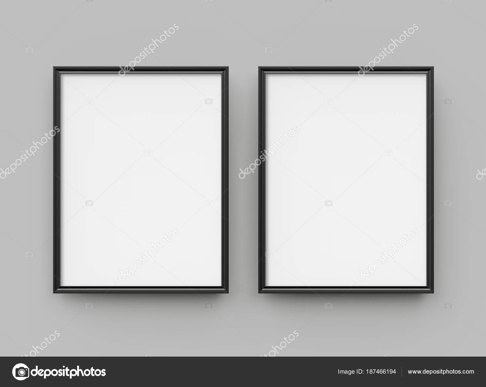 Black Picture Frame Render Thin Frames Collection Empty Space Decorative U2014  Stock Photo