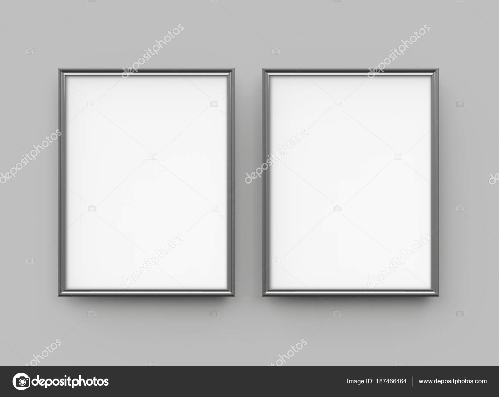 Grey Picture Frame Render Thin Frames Collection Empty Space Decorative U2014  Stock Photo