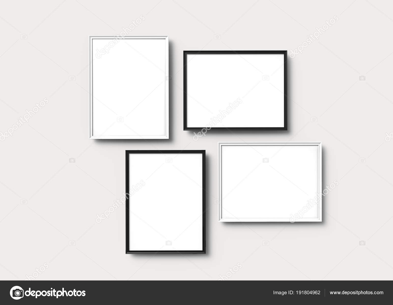 Picture Frames Set Render Thin Frames Empty Space Decorative Uses U2014 Stock  Photo