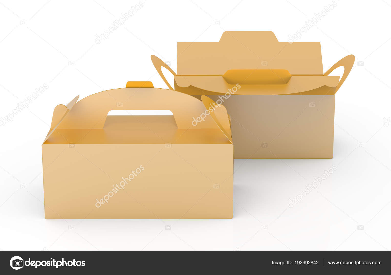Golden Box Handle Gift Food Carton Package Set Render Design