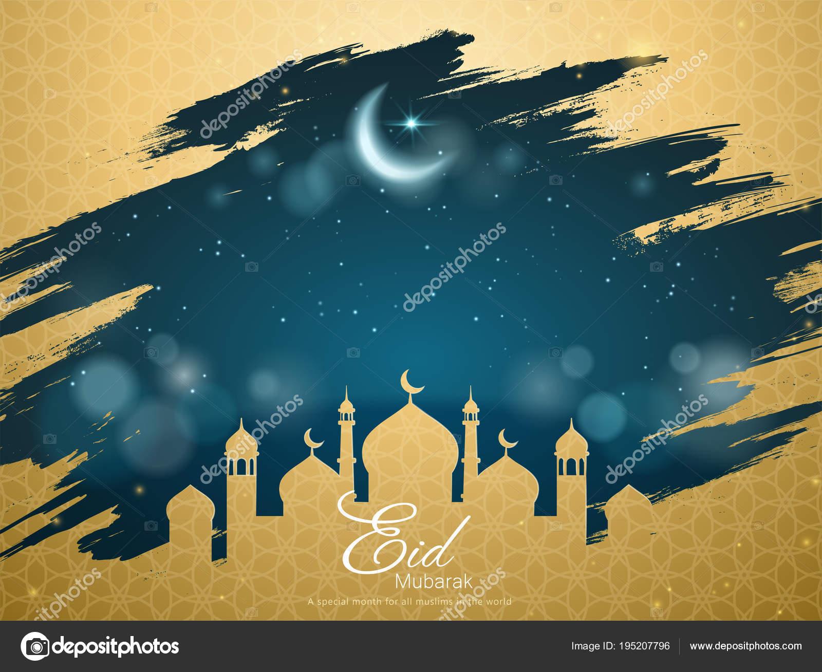 Eid Mubarak Greeting Card Vector Image By C Kchungtw Vector Stock 195207796