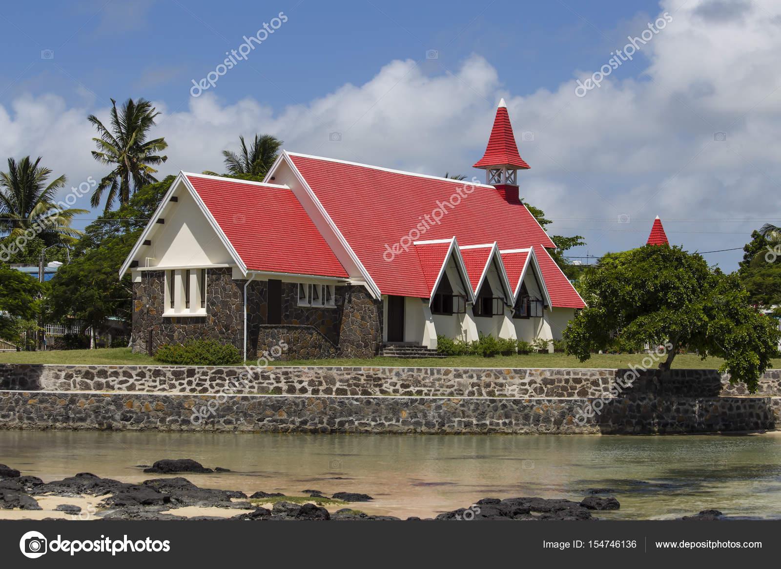 Landmarks of Mauritius island - Red church on the beach  Cap