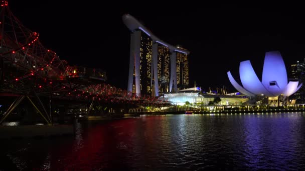 Singapore city, Singapore - february 26, 2020 : Marina Bay Sands hotel is an integrated resort fronting Marina Bay at night view in Singapore