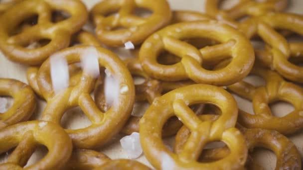 Large salt drops on pretzels close-up