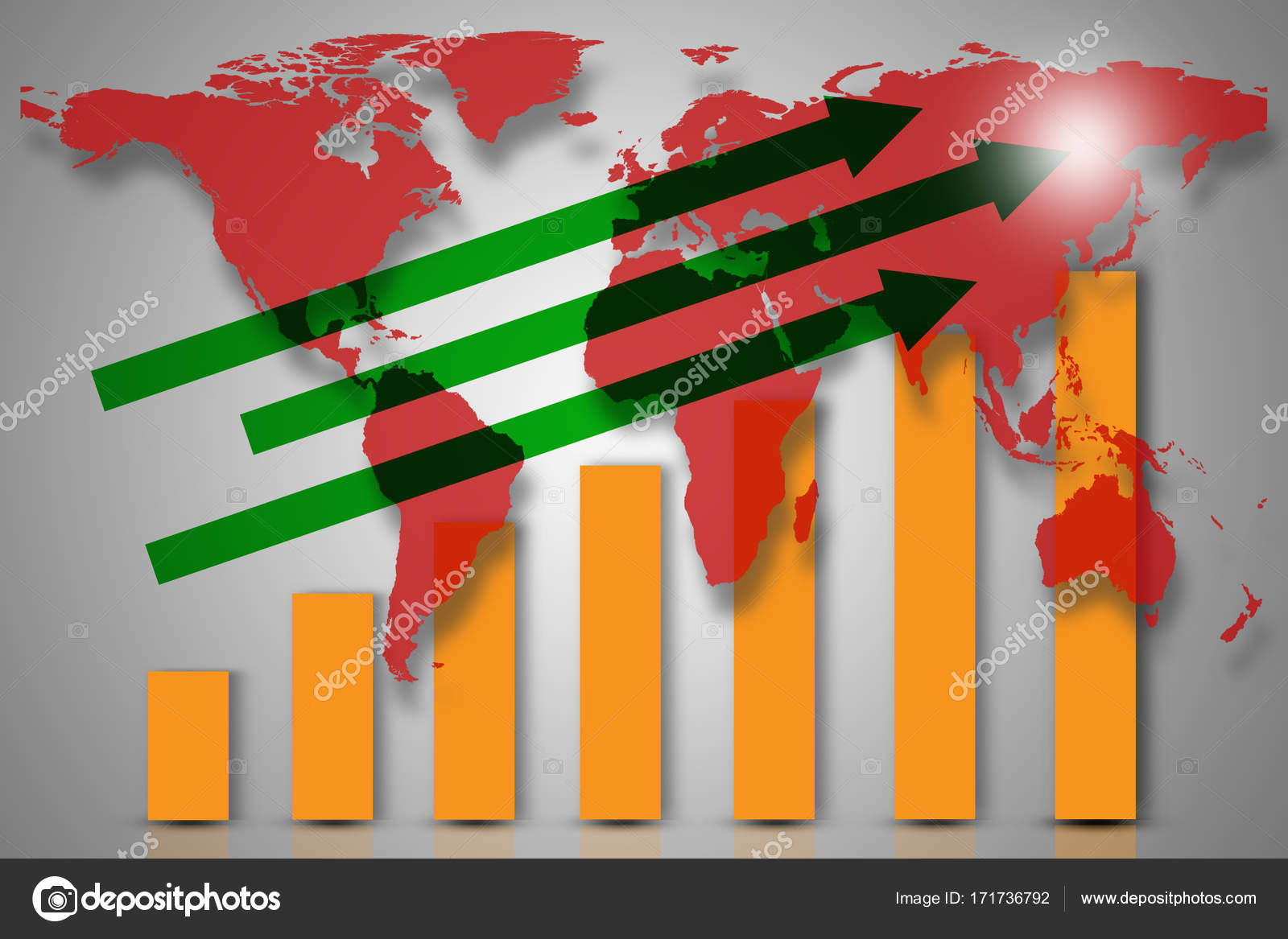Double exposure with red world map with downward bar graph from double exposure with red world map with downward bar graph from business and financial concept elements of this image furnished by nasa gumiabroncs Choice Image