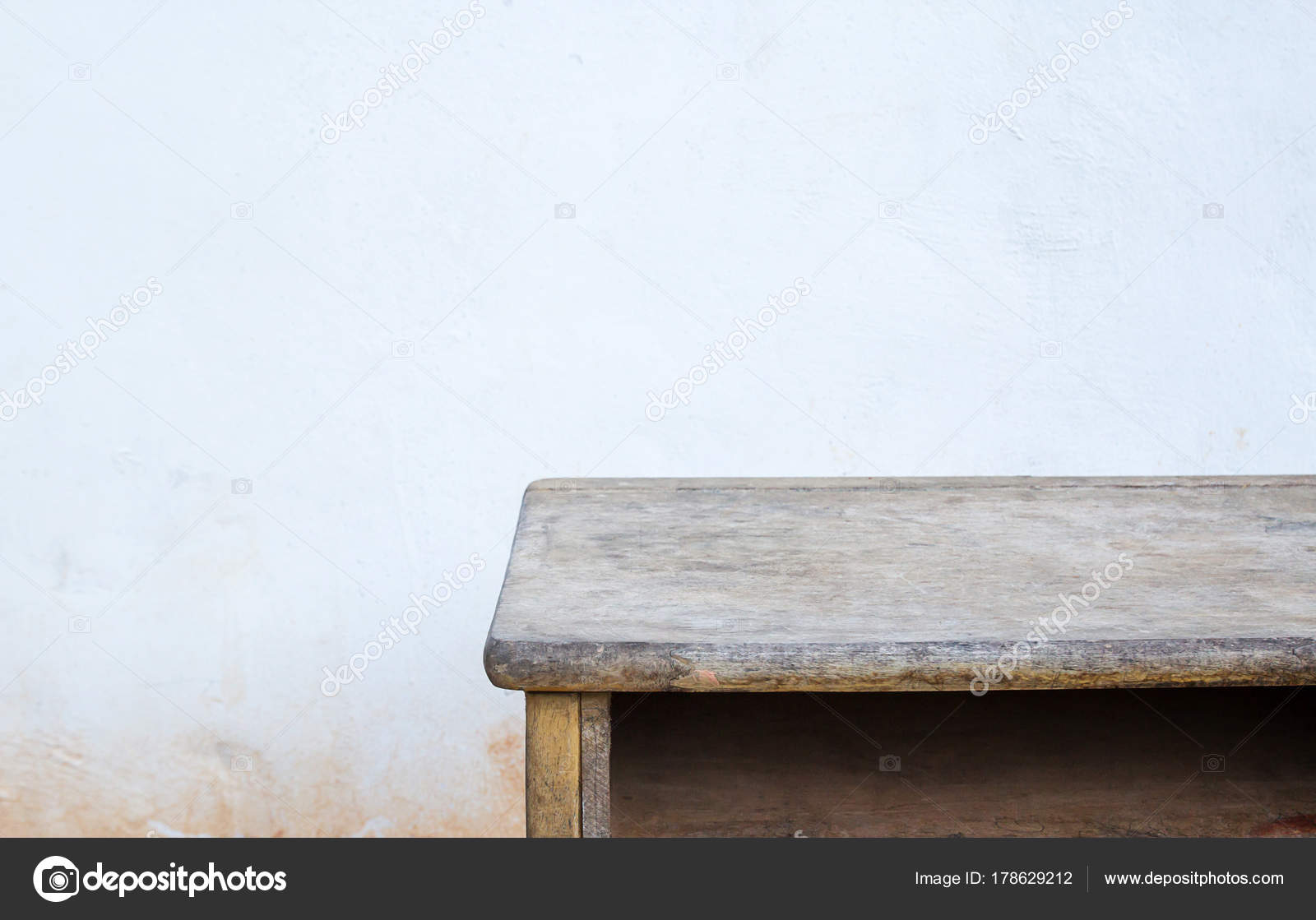 Empty Wood Table Top On Old Concrete Background Stock Photo