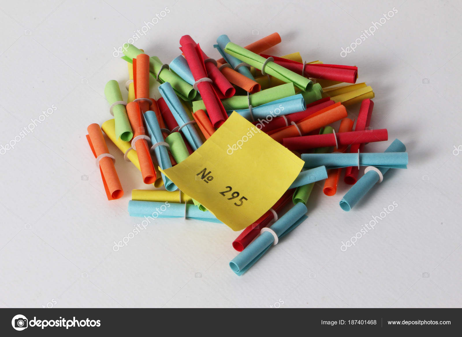 colorful tombola tickets lying studio win number top stock photo